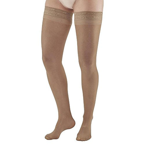 Ames Walker AW Style 74 Soft Sheer 8 15mmHg Thigh Highs w/Band Natural XL