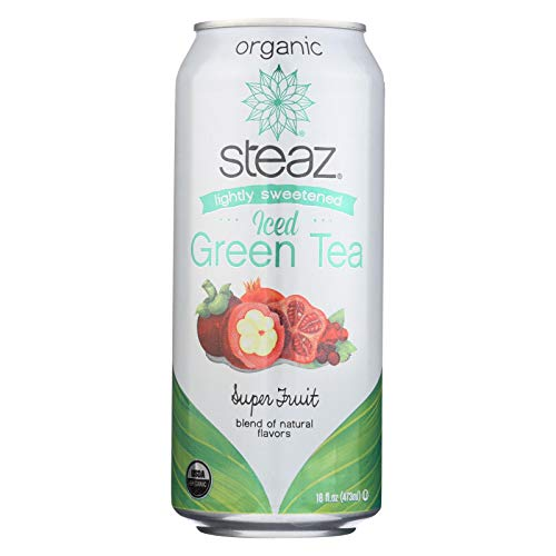 Steaz Organic Lightly Sweetened Iced Green Tea, Super Fruit, 16 Fl Oz (Pack Of 12)