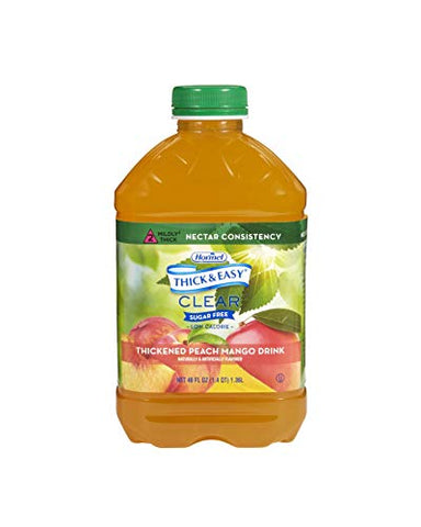 Thick & Easy Sugar Free Thickened Beverage 46 oz. Bottle Peach Mango Flavor Ready to Use Nectar Consistency, 79018 - Case of 6