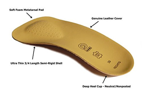 Emsold Ultra Thin Orthotic With Metatarsal Pad And Deep Heel Cup â?? Semi Rigid Arch Support Insole