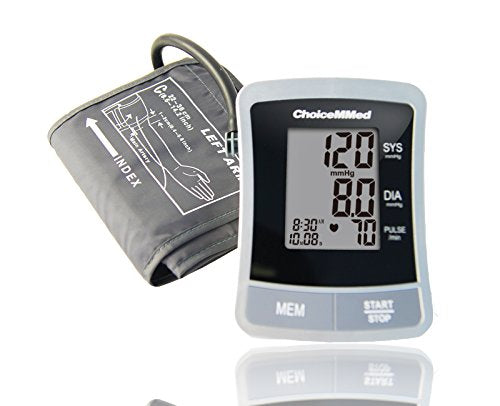"ChoiceMMed Portable Blood Pressure Monitor - BP Cuff Meter with Display - Standard Size Blood Pressure Machine 8.66-14.17"" - Blood Pressure Tester with Carrying Bag - Blood Pressure Gauge with Memory"
