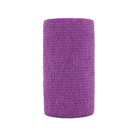 4 inch x 6 Pack Vet Wrap Adhesive Bandages - 5 Yards Self Adherent Cohesive Wrap Bandages Self Adhesive Non Woven Bandage Sports Medical Wrap Athletic Wrap for Ankle, Wrist, Sprains Purple