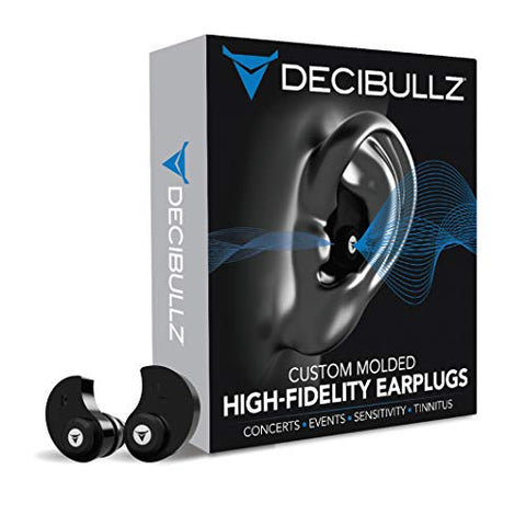 Decibullz - Custom Molded High Fidelity Earplugs - Hearing Protection for Musicians, Concertgoers, and Sensory Disabled - Black