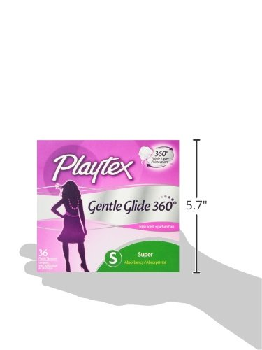 Playtex Gentle Glide Tampons With Triple Layer Protection, Super, Lightly Scent   36 Count (Pack Of