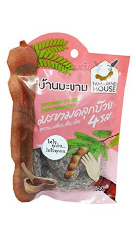 2 Packs of Tamarind 4 Tastes - Plum Flavoured, Sweet, Sour, Salty, Spicy. Selected premium Delicious fruit snack by Tamarind House Brand, Thailand. (90 g./pack)