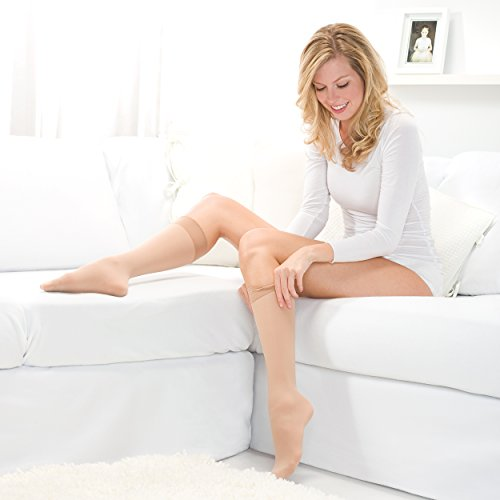 Therafirm Knee High Support Stockings - 20-30mmHg Moderate Compression Nylons (Sand, Small)