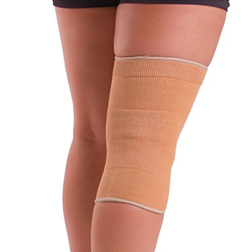 BraceAbility Elastic Slip-on Knee Sleeve | Cotton Fabric Knee Pain Compression Bandage for Stretchy, Lightweight & Comfortable Support (Large)