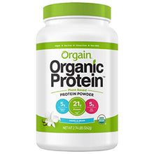 Orgain Organic Plant Based Protein Powder, Vanilla Bean, Vegan, Gluten Free, Kosher, Non-GMO, 2.74 Pound, Packaging May Vary