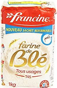 Francine Farine de Ble Tous Usages - French All Purpose Wheat Flour - 2.2 lbs (6 pack)