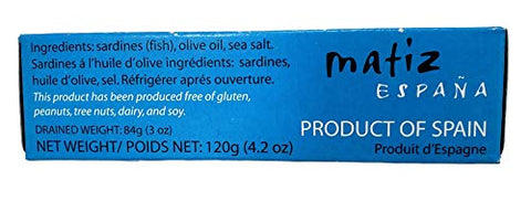 Matiz Sardines in Olive Oil, 4.2 Ounce Can (Pack of 25) Spanish Gourmet Wild Caught Natural Fish for Tapas, Snacks, or Meals, Protein Rich, Sealed Freshness