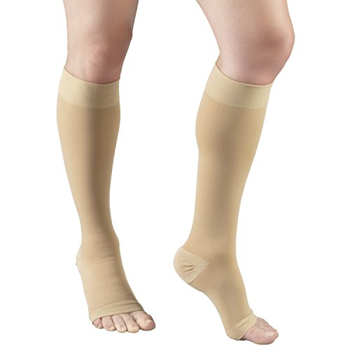 Truform 30-40 mmHg Compression Stockings for Men and Women, Knee High Length, Open Toe, Beige, 2X-Large