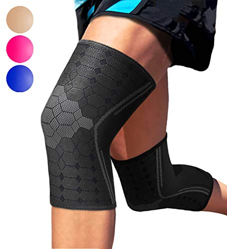 Sparthos Knee Compression Sleeve by (Pair) - Support for Sports, Running, Joint, Knee Pain Relief - Knee Brace for Men and Women - Elder ACL PCL Bursitis Meniscus Tear Patella Runner Knee (Black-M)