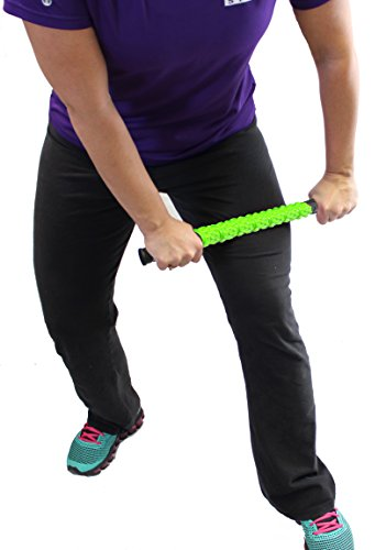 "The Muscle Stick Roller | Massage Roller for Runners & Athletes | Muscle Roller Stick""Life-Proof"" Strong Full Stainless Steel Core, ABS Plastic, Premium Star Textured Handles - Elite Hard Green"