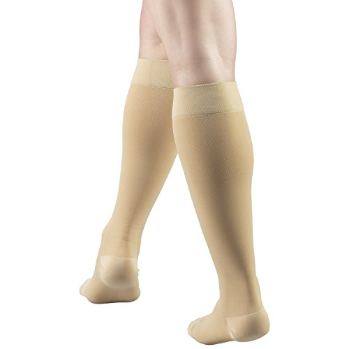 Truform 15-20 mmHg Compression Stockings for Men and Women, Knee High Length, Closed Toe, Beige, Small