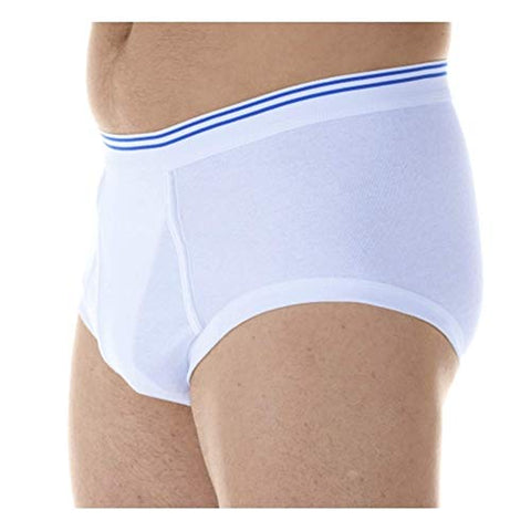 1-Pack Men's White Classic Regular Absorbency Washable Reusable Incontinence Briefs Large (Waist 38-40)