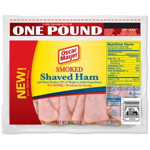 OSCAR MAYER LUNCH MEAT COLD CUTS SMOKED HAM SHAVED 16 OZ PACK OF 2