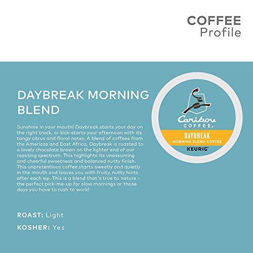 Caribou Coffee Daybreak Morning Blend, Single Serve Keurig K Cup Pods, Light Roast Coffee, 72 Count