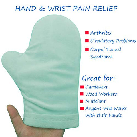 Hot and Cold Hand Therapy Gloves, Hand Ice Pack, Ice and Heat Therapy Pain Relieving Mittens | Microwavable and Freezable, Arthritis, Finger and Hand Injuries, and Carpal Tunnel (Ice Pack)