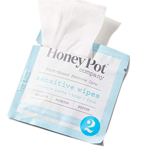 The Honey Pot Company Sensitive Feminine Hygiene Wipes 15 Count! Formulated with Coconut Oil, Aloe, Cucumber, Oat and Calendula! Plant-Based Feminine Wipes! Help Balance, Nourish & Restore! (1 Pack)