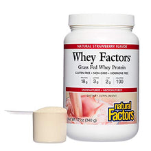 Whey Factors by Natural Factors, Grass Fed Whey Protein Concentrate, Aids Muscle Development and Immune Health, Strawberry, 12 oz (13 servings)