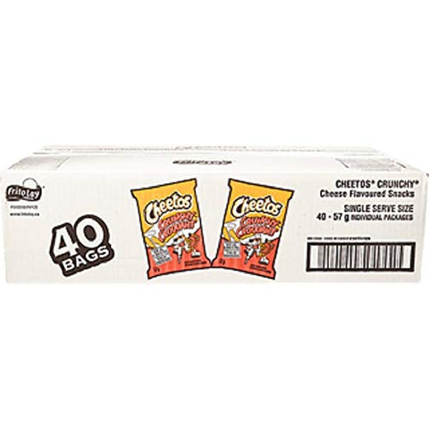 Cheetos Box of 40 Bags of Crunchy Snacks, Vending Chips (40x57g) Imported from Canada