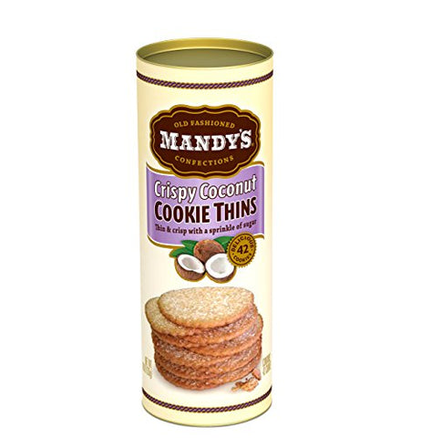 Mandy's Cookie Thins, Crispy Coconut, 4.6 Ounce (Pack of 6)