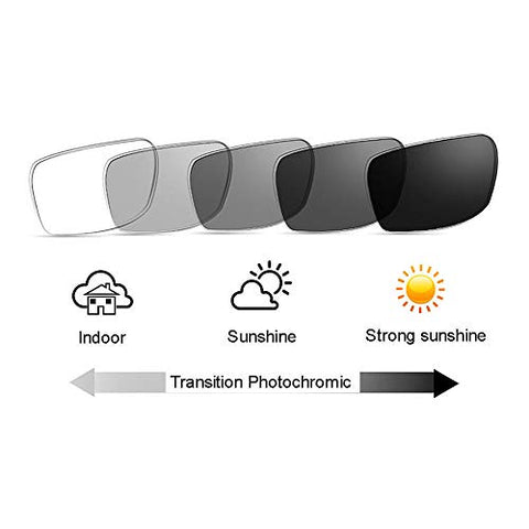 Mens Wooden Square Nerd Rivets Transition Photochromic Reading Glass UV400 Sun Reader (Coffee, 5.00)