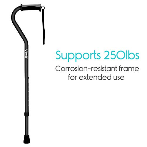 Vive Walking Cane - for Men & Women - Portable, Adjustable Offset Balance Stick - Lightweight & Sturdy Mobility Walker Aid for Arthritis, Elderly, Seniors & Handicap (Black)