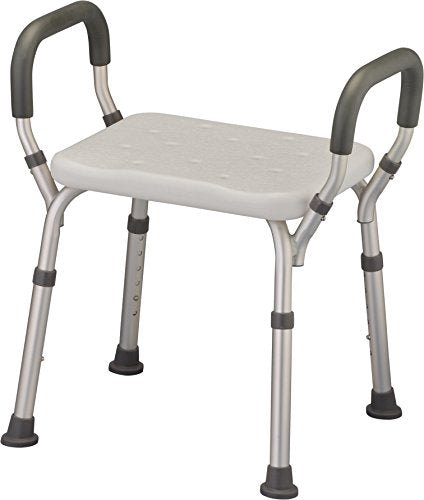 NOVA Shower & Bath Chair with Arms, Quick & Easy Tools Free Assembly, Lightweight & Seat Height Adjustable, Great for Travel
