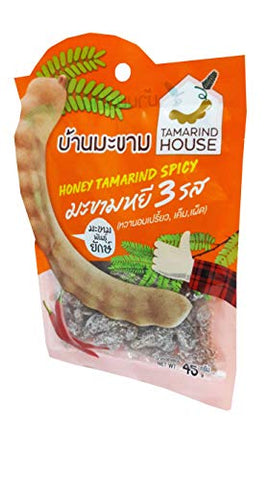 2 Packs of Honey Tamarind Spicy 3 Tastes, Sweet and Sour, Salty, Spicy. Selected premium Delicious fruit snack by Tamarind House Brand, Thailand. (45 g./pack)
