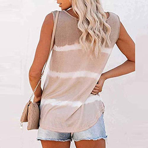 heavKin-Clothes Womens Tie-Dye O-Neck Tank Tops Summer Soft Comfort Casual Loose Vest Shirts Blouse