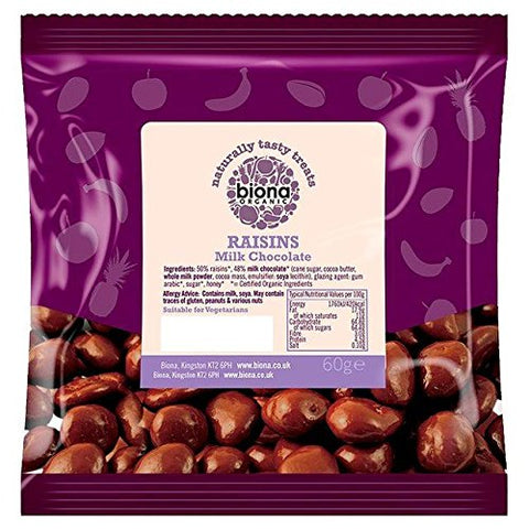 Biona Organic Raisins Milk Chocolate - 60g