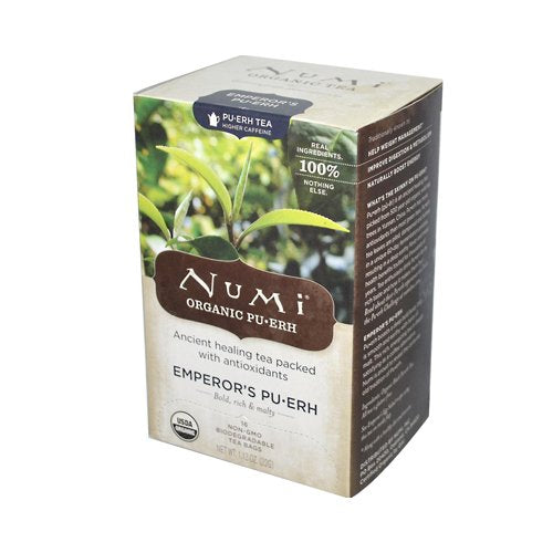 Numi Organic Tea Emperor's Puerh, Full Leaf Black Tea, 16 Count ( Case of 6 )