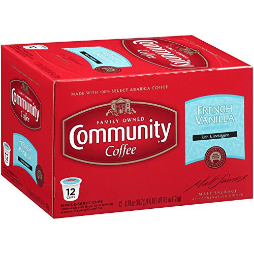 Community Coffee French Vanilla Flavored Medium Roast Single Serve 36 Ct Box, Compatible with Keurig 2.0 K Cup Brewers, Medium Full Body Rich Creamy Taste, 100% Arabica Coffee Beans