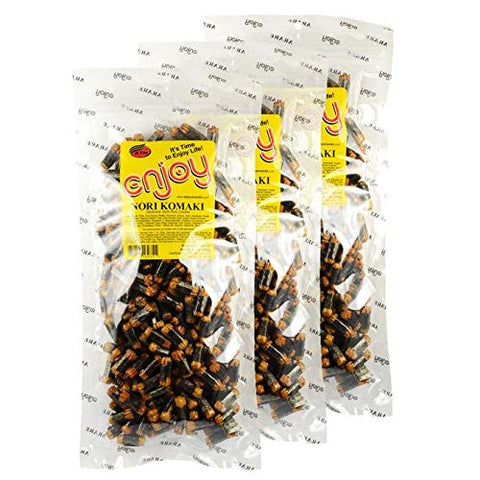 Enjoy Nori Komaki Arare Rice Crackers - 3 Pack - Delicious, Crunchy, and Tasty - Perfect Grab and Go Snack - Great Addition To Popcorn or Trail Mix