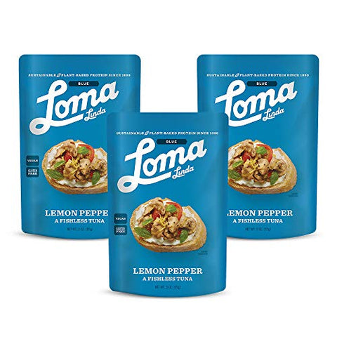 Loma Linda TUNO Lemon Pepper Fishless Tuna - Non-GMO (3 oz.) (Pack of 3)