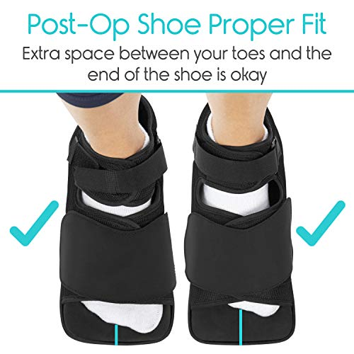 Vive Post Op Shoe - Lightweight Medical Walking Boot with Adjustable Strap - Post Injury Surgical Foot Cast - Durable Square Toe Orthopedic Support Brace for Broken Bone - Men, Women Fracture Recovery
