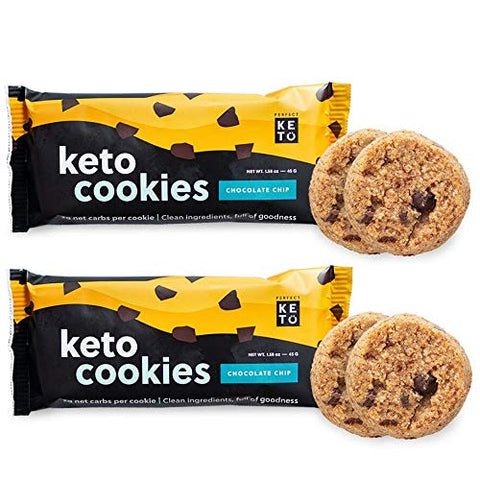 Perfect Keto Cookies - 12 Pack (24 Cookies) Low Net Carb Snacks & Sweets, No Added Sugar and Gluten-Free Cookies  Keto Food for Healthy and Keto-Friendly Diet - Chocolate Chip