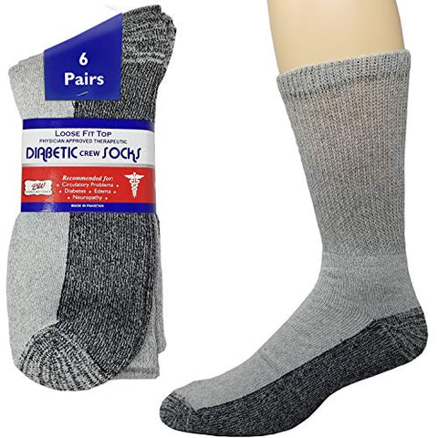 Debra Weitzner Diabetic Crew Socks Reinforced Heel and Toe Non-Binding Cushion Socks for Men and Women 6 Pairs Grey/Black Sole 9-11