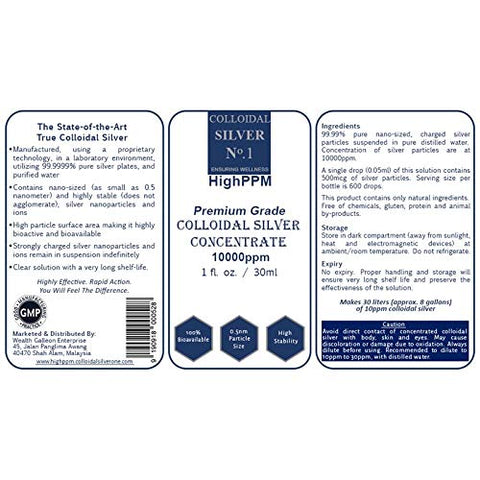 Colloidal Silver No.1 HighPPM | Premium Grade Nano Colloidal Silver Concentrate 10000ppm (1 fl. oz. / 30 ml) | Can Be Diluted to Make 8 Gallons of 10ppm Pure Nano Colloidal Silver