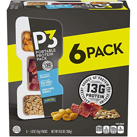 PLANTERS P3 Honey Roasted Peanuts, Maple Glazed Ham Jerky & Sunflower Kernels Portable Protein Pack, 1.8 oz Tray (Pack of 6) | Satisfying Snack, Work Snack, Active Lifestyle Snack and On-the-Go Snack