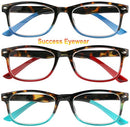 Image of Reading Glasses Set of 3 Great Value Spring Hinge Readers Men and Women Glasses for Reading +3.5