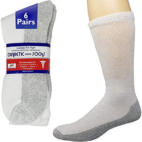 Debra Weitzner Diabetic Crew Socks Reinforced Heel and Toe Non-Binding Cushion Socks for Men and Women 6 Pairs White/Grey Sole 9-11