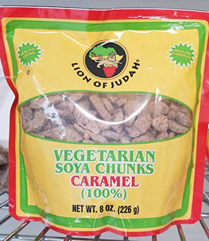 2 x Lion of Judah Vegetarian Soya Chunks Caramel 8oz