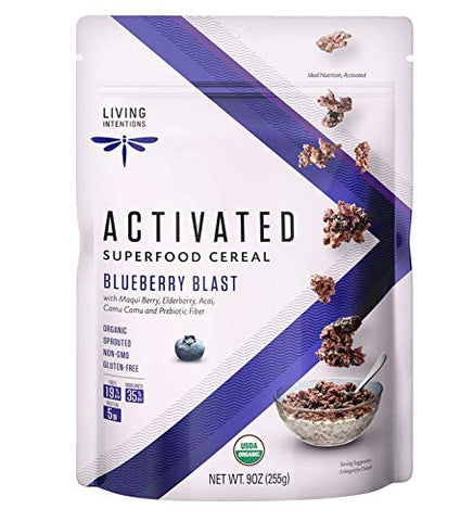 Living Intentions Organic Superfood Cereal  Blueberry Blast  NonGMO  Gluten Free  Vegan Paleo  Kosher  9 Ounce Unit
