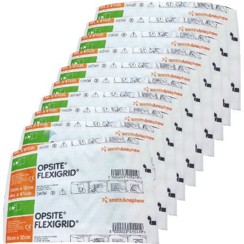 Smith & Nephew Opsite Flexigrid Transparent Dressings 4 x 4-3/4 - 10 Dressings