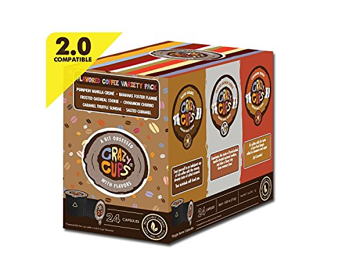 Crazy Cups Flavored Coffee Pods Variety Pack   Coffee Flavors For The Keurig K Cups Machine, Recycla