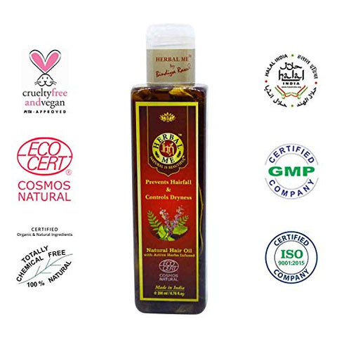 Herbal Me - Hair Oil with Active Herbs Infused, Prevents Hairfall, Certified 100% Natural by Ecocert (France),6.76 Fl oz.