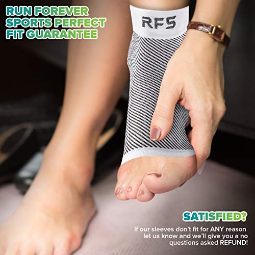 Plantar Fasciitis Foot Compression Sleeves for Injury Rehab & Joint Pain. Best Ankle Brace - Instant Relief & Support for Achilles Tendonitis, Fallen Arch, Heel Spurs, Swelling & Fatigue Black Medium