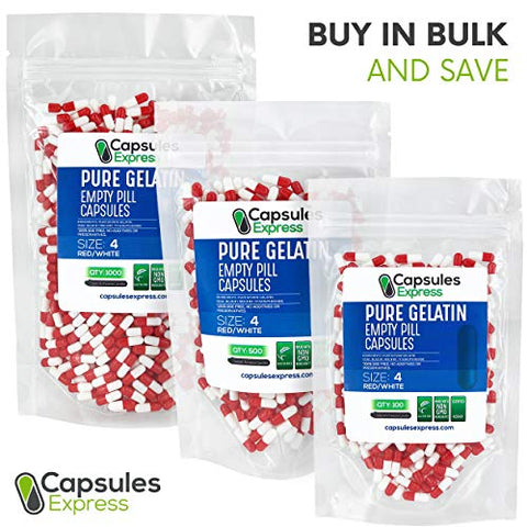 XPRS Nutra Size 4 Empty Capsules - 1000 Count Colored Empty Gelatin Capsules - Capsules Express Empty Pill Capsules - DIY Supplement Capsule Filling - Fillable Color Gel Caps Pills (Red/White)